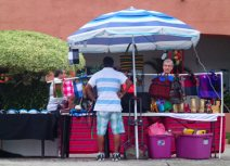 Street vendor engages a potential customer